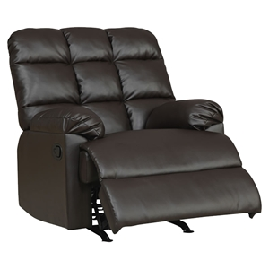 Jacqueline Bonded Leather Rocker Recliner Chair - Dark Brown
