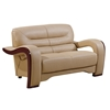 Devin Leather Loveseat - Cappuccino with Mahogany Legs - GLO-U992-RV-L