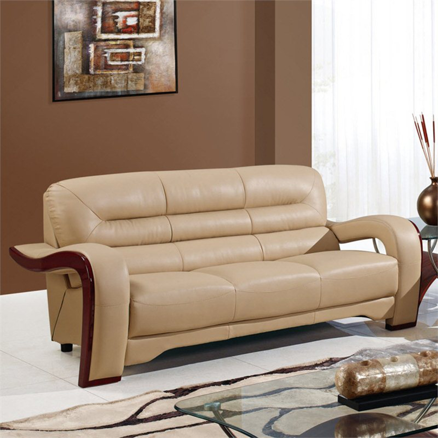 Devin Leather Sofa in Cappuccino with Mahogany Legs - GLO-U992-RV-S