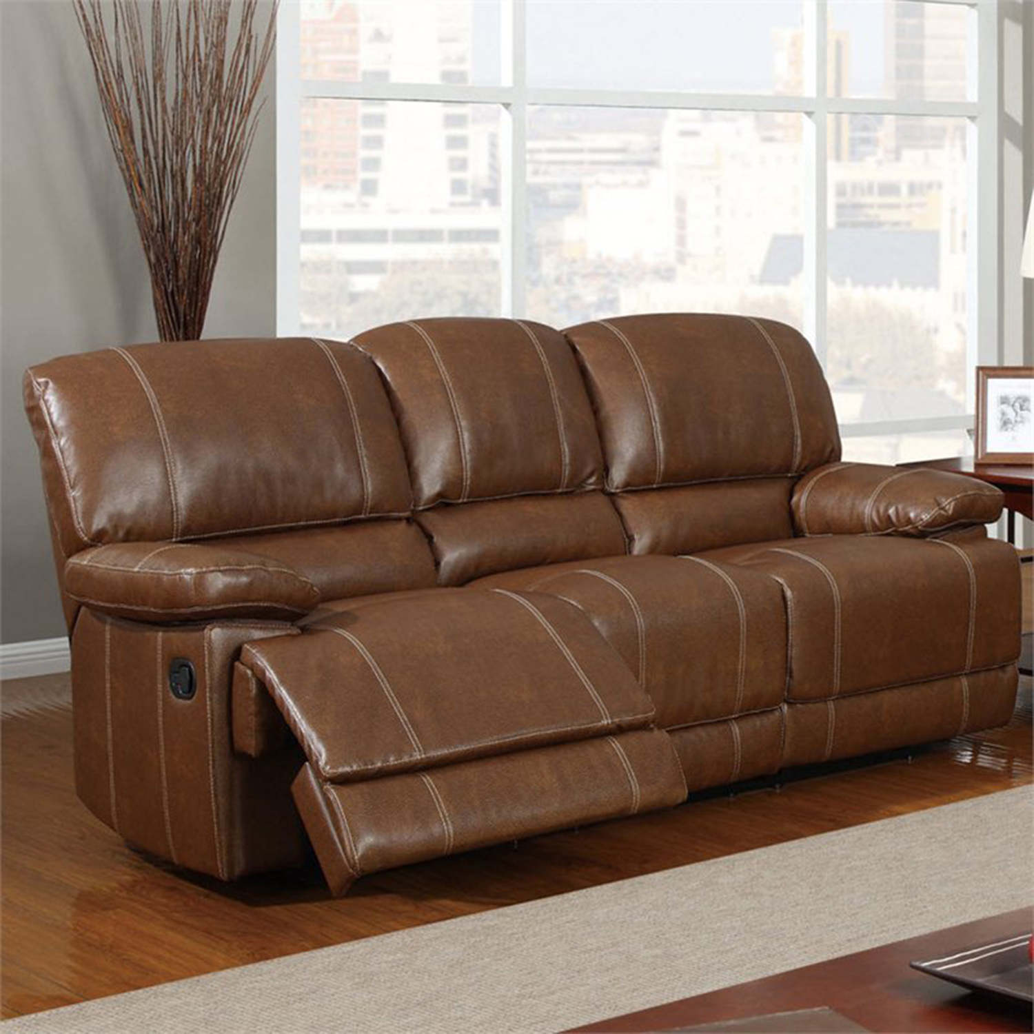 Rodeo Reclining Sofa in Brown Leather - GLO-U9963-RODEO-BROWN-R-S-M