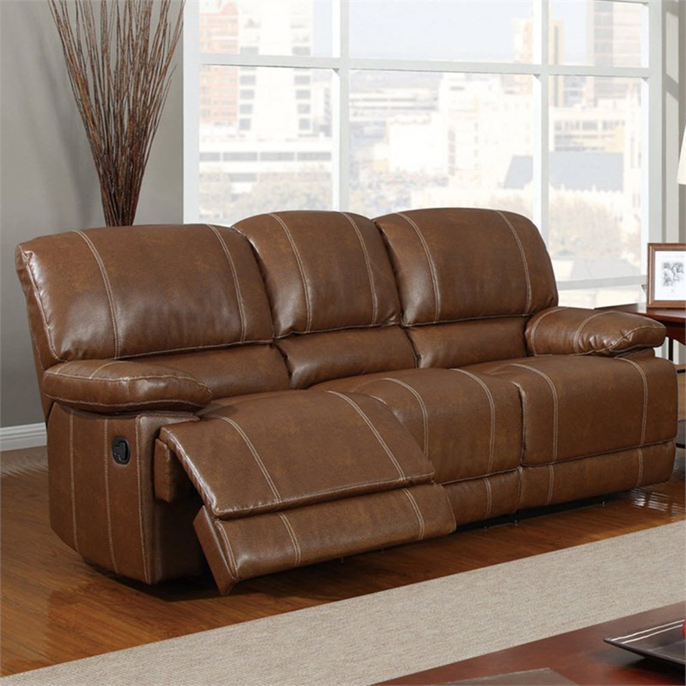 rodeo reclining sofa in brown leather dcg stores. Black Bedroom Furniture Sets. Home Design Ideas