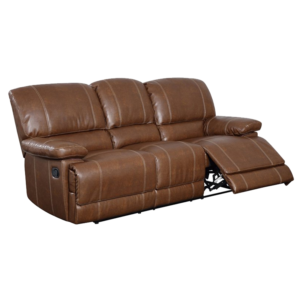 Rodeo reclining sofa set in brown leather dcg stores for Brown couch set