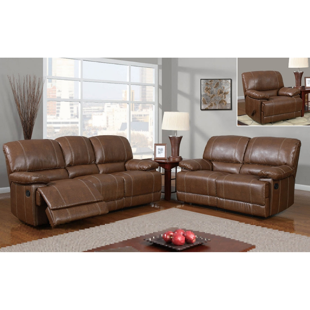 rodeo reclining sofa set in brown leather dcg stores. Black Bedroom Furniture Sets. Home Design Ideas