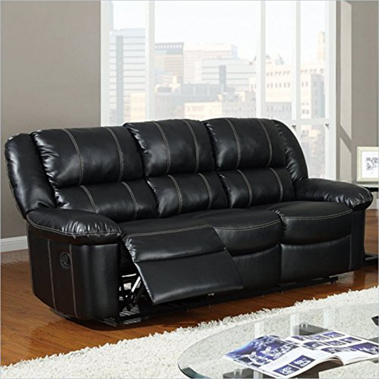 Jocelyn Reclining Sofa in Black Leather - GLO-U9966-R-S-M