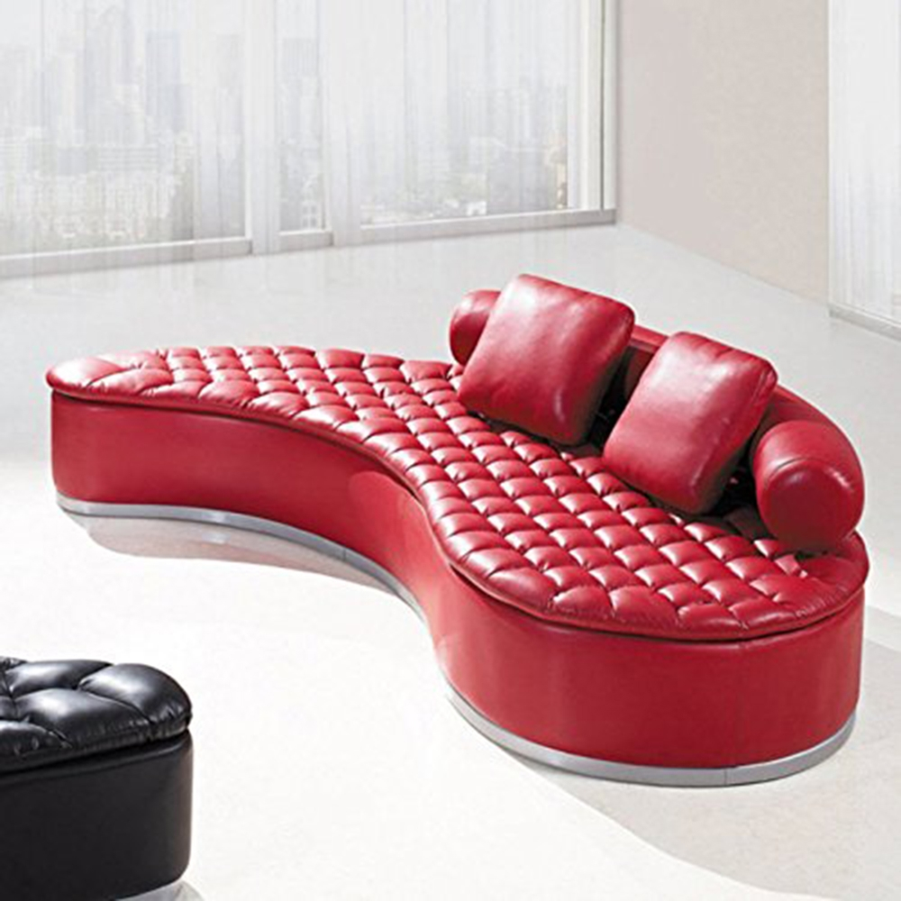 Red Leather Sofa With Red Pillows Dcg Stores