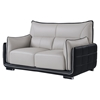 Kaden Leather Loveseat - Natalie Gray/Natalie Black - GLO-UFY220-R6U6-GR-BL-L