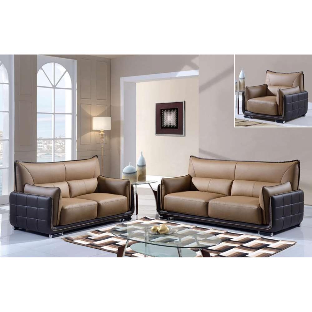 Kaden Sofa Set - Brown Leather