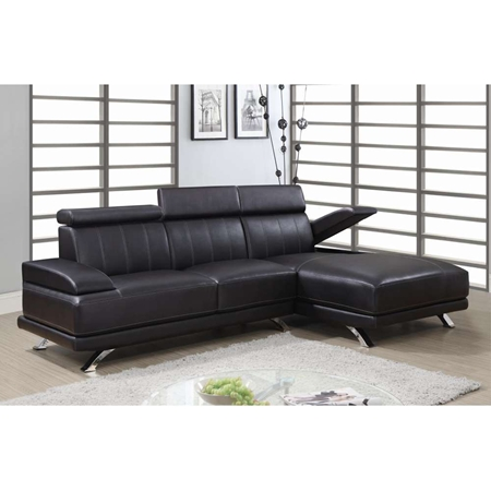 Lindsey 2 Piece Leather Sectional Sofa In Chocolate Dcg Stores