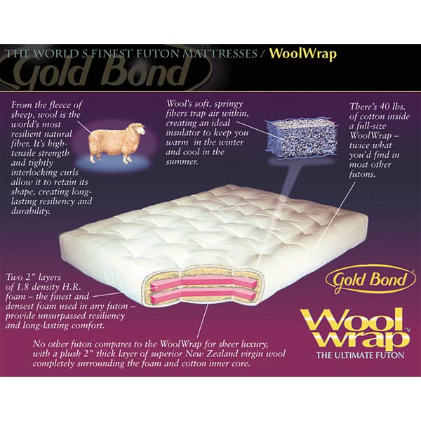 8'' Wool Wrap Queen Futon Mattress - Model 613 - GB-MODEL613-QN