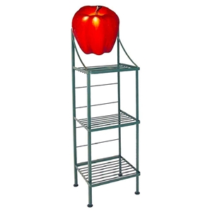 Fruit Wrought Iron Bakers Rack - 3 Wire Shelves, Hand Painted