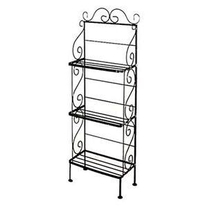 "Light 18"" Wrought Iron Bakers Rack - 3 Wire Shelves"