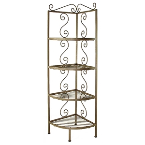 "18"" Wrought Iron Corner Bakers Rack - 4 Wire Shelves"