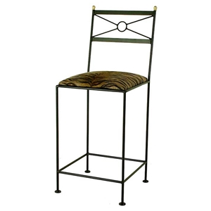 "Classico 24"" Wrought Iron Counter Stool - Geometric Back"
