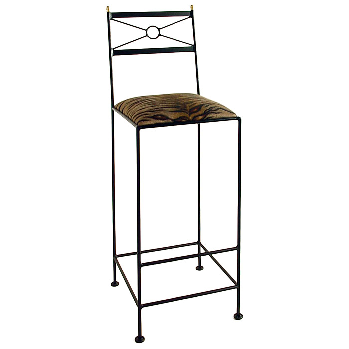 "Classico 30"" Wrought Iron Bar Stool - Geometric Back - GMC-2030-CL"