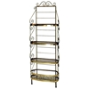 "French 24"" Wrought Iron Baker's Corner Rack - 4 Wire Shelves - GMC-244CF"