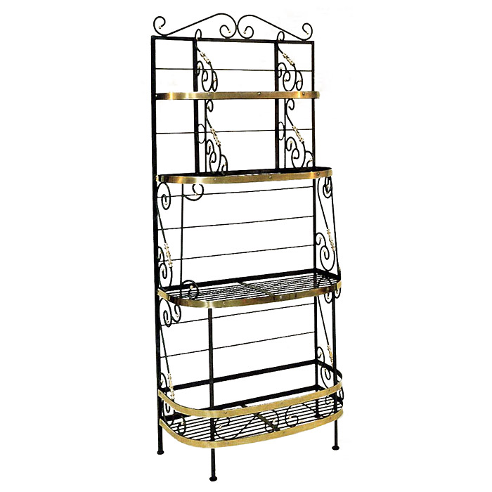 "French Bow 36"" Wrought Iron Baker's Rack - 4 Wire Shelves - GMC-36BF"