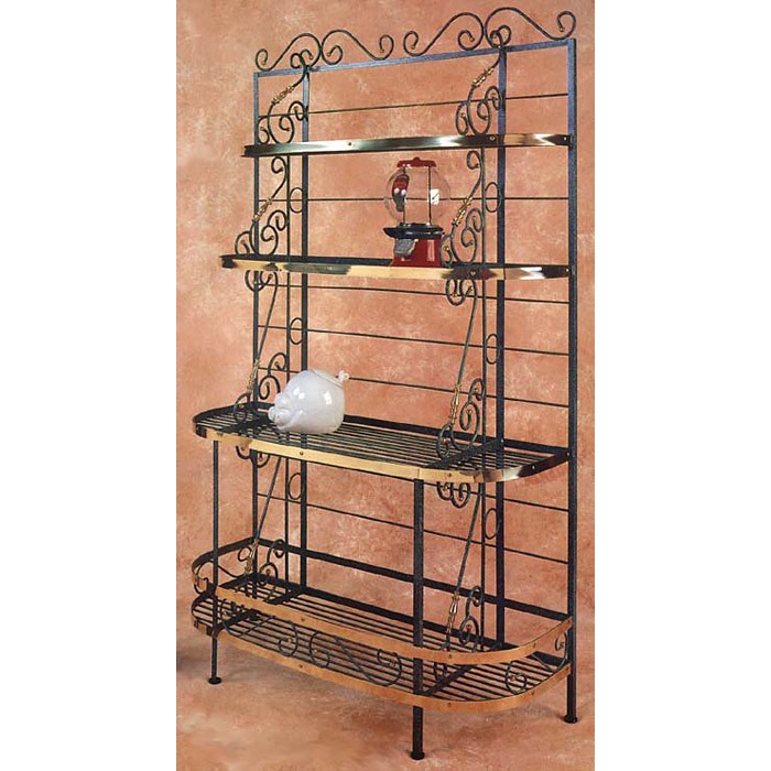 "French Bow 48"" Wrought Iron Baker's Rack - 4 Wire Shelves - GMC-48BF"