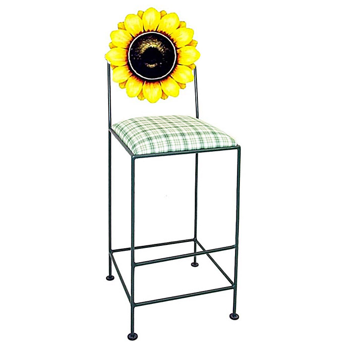 "Floral 30"" Wrought Iron Bar Stool - Hand Painted - GMC-AL-30-FLORAL"