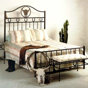 Frontier Western Style Wrought Iron Bed - Custom Patterns