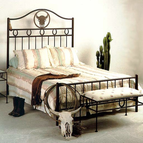 Frontier Western Style Wrought Iron Bed - Custom Patterns | DCG Stores