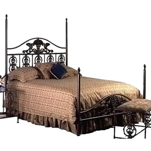 Harvest Wrought Iron Post Bed - Ornate Castings, Acorn Finials