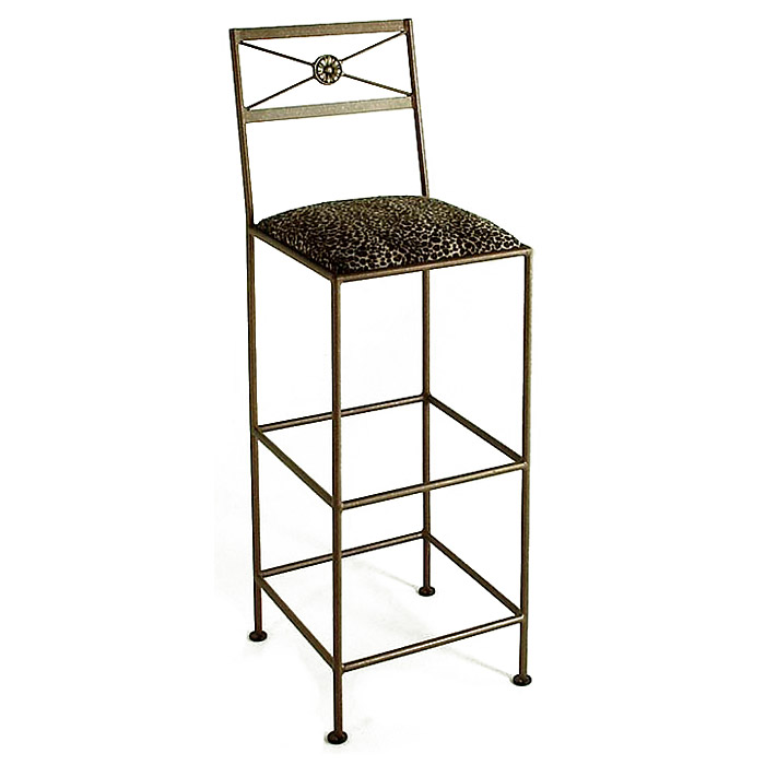 "Neoclassic 36"" Wrought Iron Bar Stool - X Back, Extra Tall - GMC-B34-N"