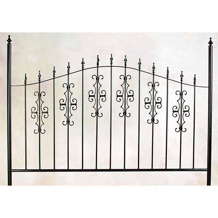 Gothic Gate Wrought Iron Headboard - Ornate Scrolls, Spear Finials - GMC-B-6000-HB