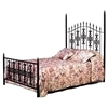 Gothic Gate Wrought Iron Bed - Ornate Scrolls, Spear Finials