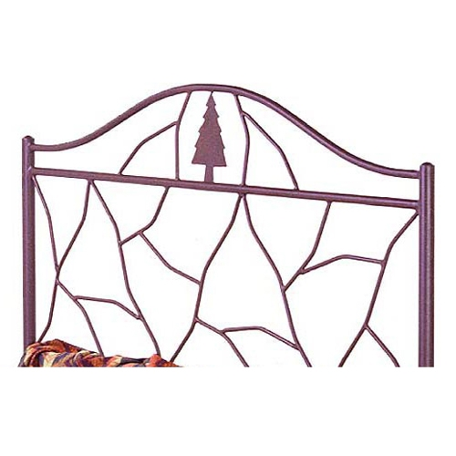 Twig Wrought Iron Camelback Headboard - Pine Tree Accent - GMC-B-7000-HB