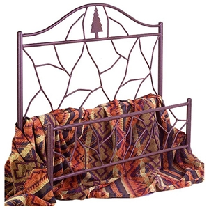 Twig Wrought Iron Bed - Camelback Headboard, Pine Tree Accent