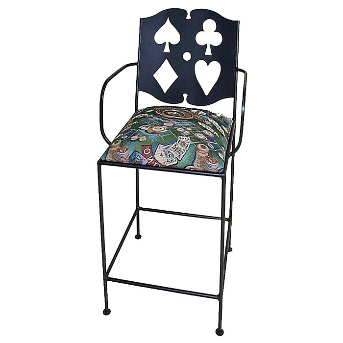 "Cards 24"" Wrought Iron Counter Stool - Armrests - GMC-BAC-24ARM-CARDS"