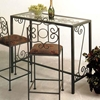 French Traditional Bar Table Wrought Iron Glass Top Dcg Stores