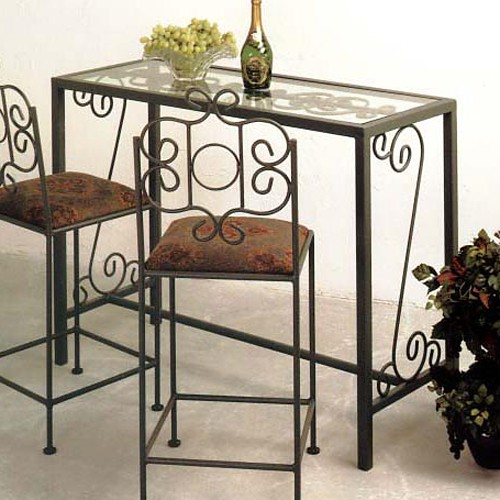 French Traditional Bar Table - Wrought Iron, Glass Top