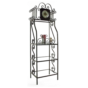 Clock-a-Gere Wrought Iron Display Rack - 3 Glass Shelves