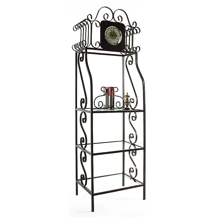 Clock-a-Ge're Wrought Iron Display Rack - 3 Glass Shelves - GMC-CL-100