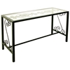 French Traditional Console Table - Wrought Iron, Glass Top - GMC-CN4919-FT