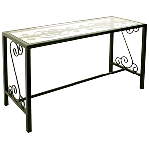 French Traditional Console Table - Wrought Iron, Glass Top