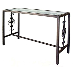 Gothic Console Table - Wrought Iron, Glass Top