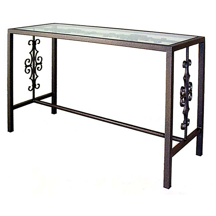 gothic console table wrought iron glass top gmccn4919g