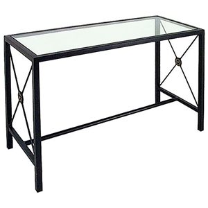 Neoclassic Console Table - Wrought Iron, Glass Top