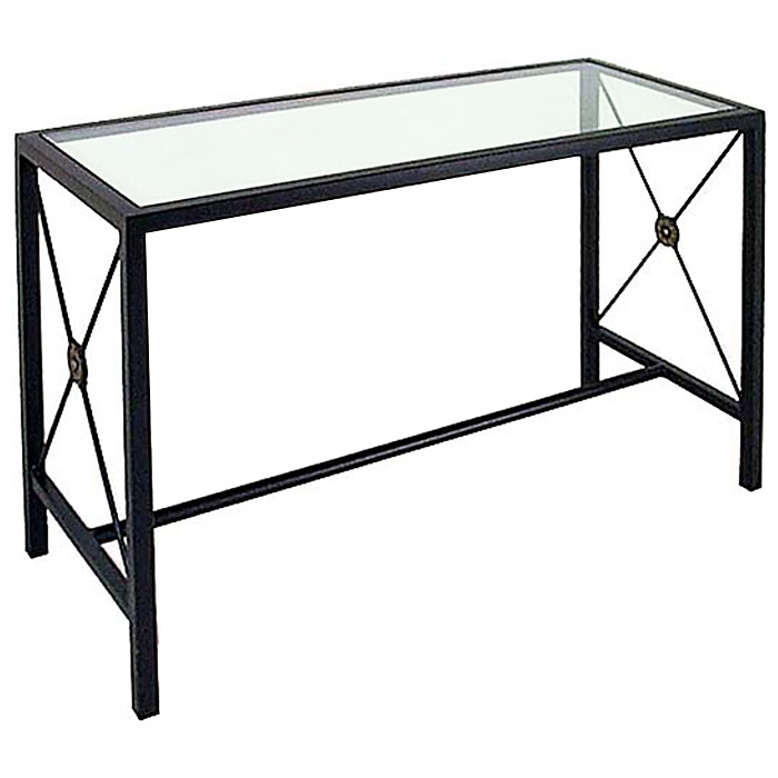 Neoclassic console table wrought iron glass top dcg for Metal console tables glass top