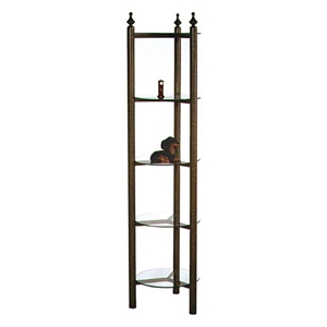 Curio Style Wrought Iron Display Rack - 5 Round Glass Shelves