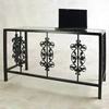 Rose Garden Desk - Wrought Iron, Glass Top - GMC-DE4919-3