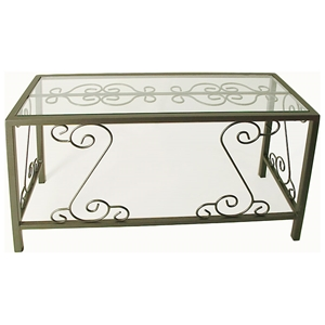 French Traditional Desk - Wrought Iron, Glass Top