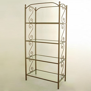 French Traditional Wrought Iron Etagere - 4 Glass Shelves