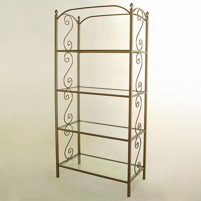 French Traditional Wrought Iron Etagere - 4 Glass Shelves - GMC-E36-FT