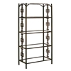 Gothic Gate Wrought Iron Etagere - 4 Glass Shelves - GMC-E36-G