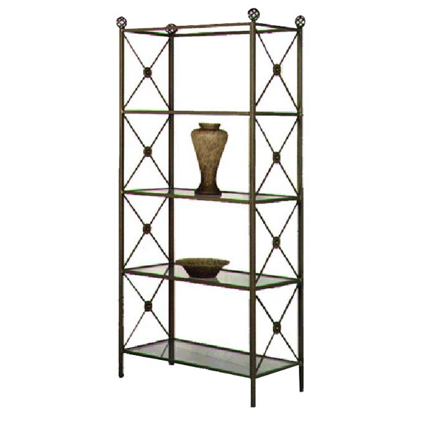 neoclassic wrought iron etagere 4 glass shelves dcg stores. Black Bedroom Furniture Sets. Home Design Ideas