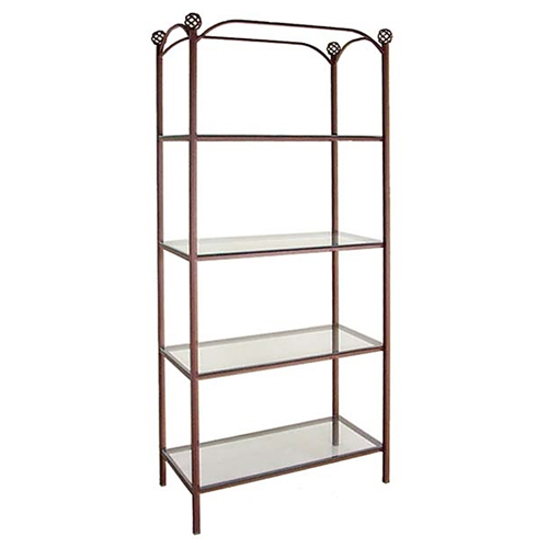 Wrought Iron Display Unit 4 Rectangular Glass Shelves