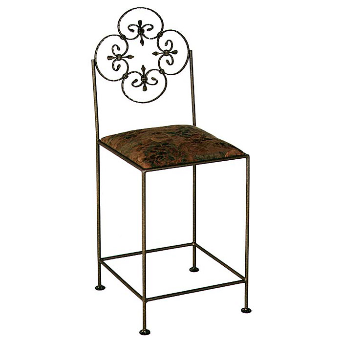 "Florentine 24"" Wrought Iron Counter Stool - Ornate Back - GMC-FL-24"